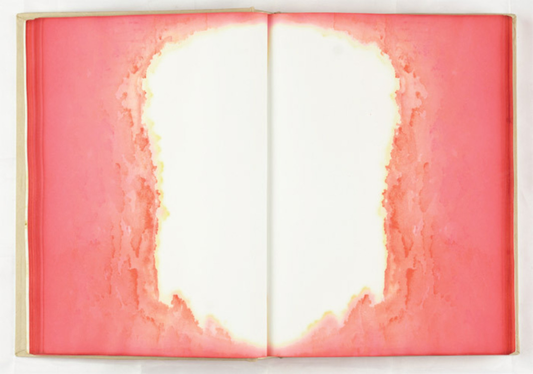 "Geng Jianyi, The reason to be classic/Pink, 2000, watercolor on blank book, 10 1/2 x 7 5/8 x 4 1/2""."