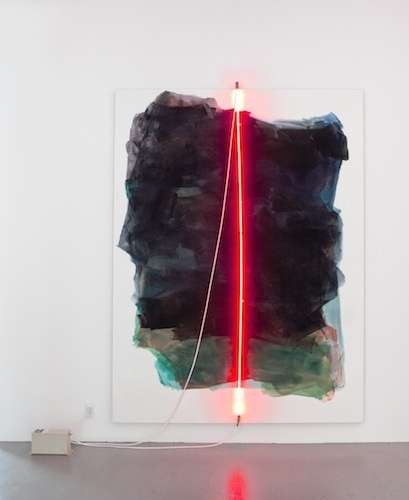"Mary Weatherford, Empire, 2012, Flashe and neon on linen, 105 x 79""."