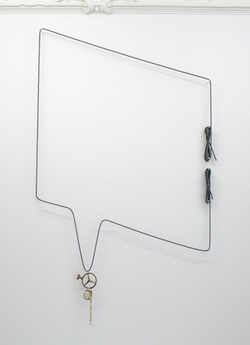 Eran Schaerf, Scenario Data #50 (Mercedes, de-chromed), 2001/2012, bungee cord, Mercedes hood ornament, bracelet, curtain accessories, key rings, nails, dimensions variable.