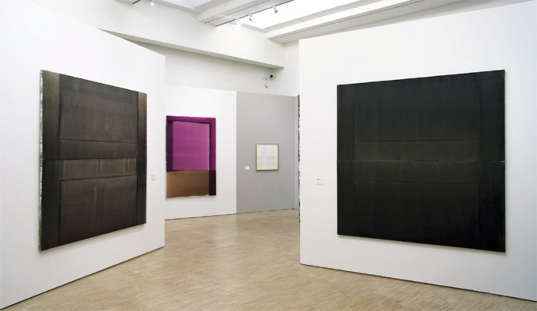 "View of ""Displace, Disclose, Discover: Acts of Painting, 1960–1999,"" 2012. From left: Marc Devade, Untitled, 1976; Marc Devade, Untitled, 1975; Marc Devade, Untitled, 1976; Marc Devade, Untitled, 1976. Photo: Philip Bernard."