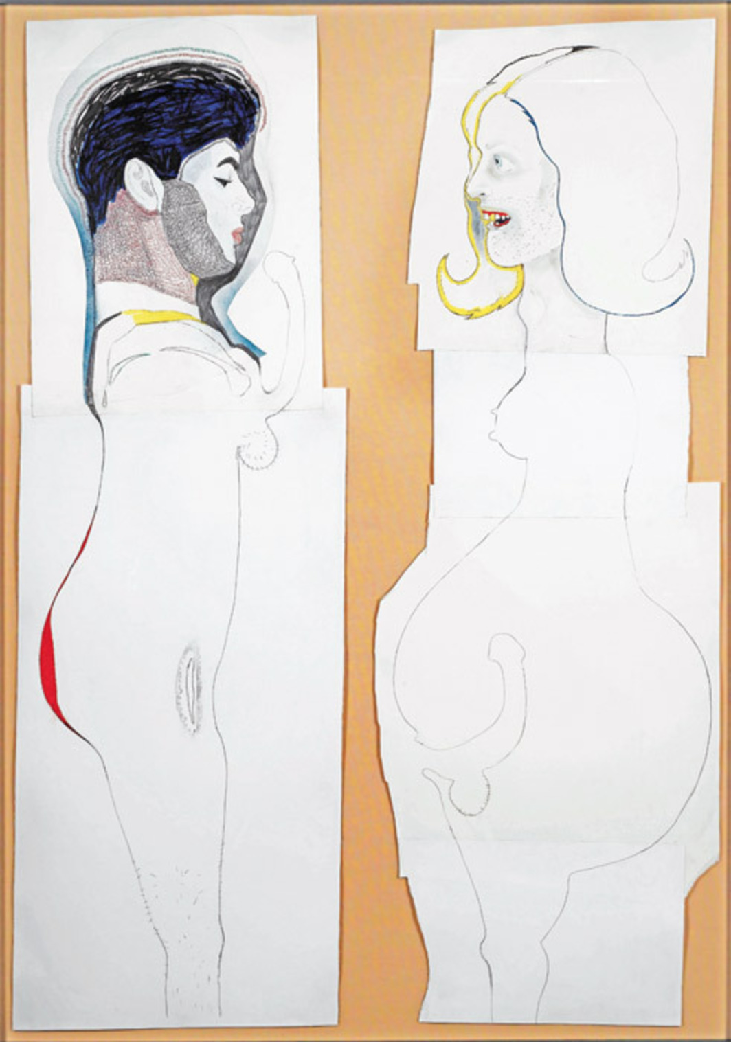 "Mike Kelley, Mr. and Mrs. Hermaphrodite, 2005, pencil, ink, gouache, and crayon on paper, 65 1/8 x 47 3/8""."