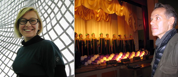 Left: NCCA Ekaterinburg director Alisa Prudnikova. Right: Curator Marc-Olivier Wahler with a Russian choir at the Levikha House of Culture. (All photos: Kate Sutton)