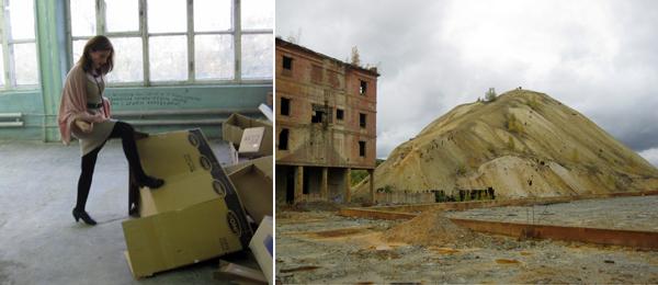 Left: A woman interacts with a work by Nedko Solakov. Right: A slag heap in Degtyarsk.