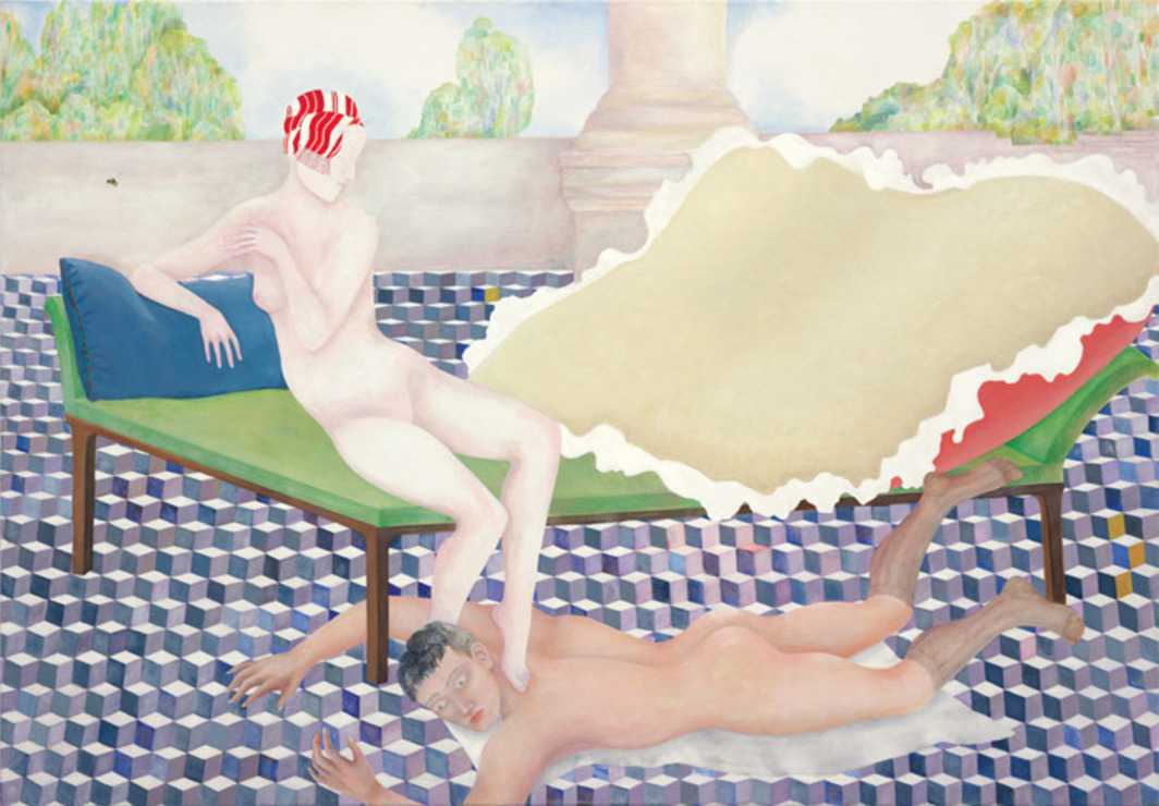 "Katharina Wulff, Die Verbindung (The Connection), 2008, oil on canvas, 48 x 68 1/2""."