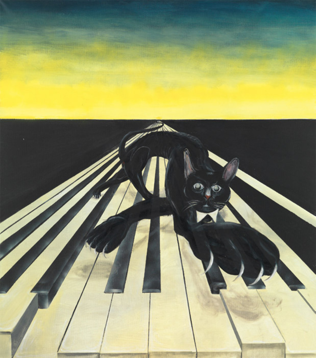 "Tomasz Kowalski, Untitled (Cat), 2012, oil on canvas, 67 x 59""."