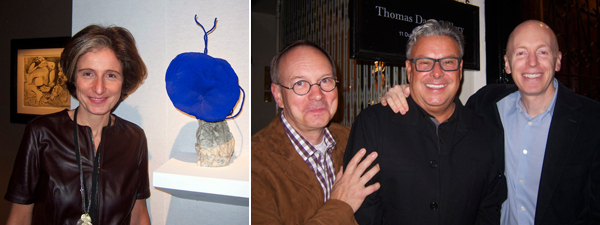 Left: Dealer Dominique Levy. Right: Artist Roy Dowell with artist Lari Pittman and dealer Marc Selwyn.