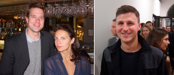 Left: Interview editor Christopher Bollen with Nowness editor Zoe Wolff. Right: Curator Andrew Bonacina.