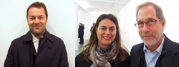 Left: Dealer Andrew Kreps. Right: Collector Maja Hoffmann and Stanley Buchthal.