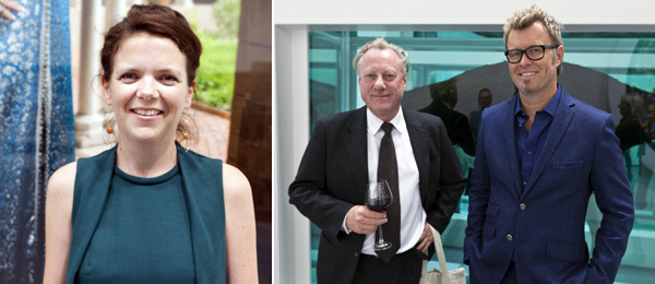 Left: Hanne Beate Ueland, curator at the Astrup Fearnley Museum. Right: Munch Museum director Stein Olav Henrichsen with artist and dealer Magne Furuholmen.