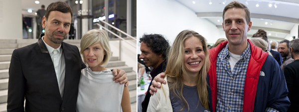 Left: Artist Ingar Dragset with Office for Contemporary Art Norway's Marta Kuzma. Right: Artists Ida Ekblad and Matias Faldbakken.