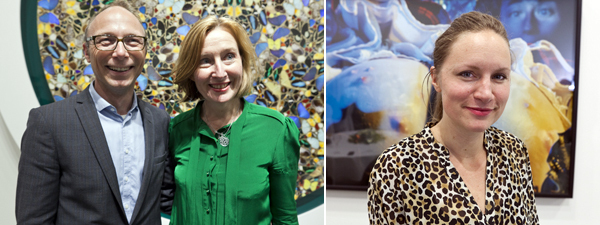 Left: Mats Stjernstedt, director of Kunstnernes Hus in Oslo, with Sara Arrhenius of Stockholm's Bonniers Konsthall. Right: Milena Høgsberg, acting chief curator at the Henie Onstad Art Centre.