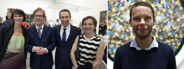 Left: Astrup Fearnley's Véronique Svarstad and Gunnar B. Kvaran, artist Jeff Koons, and Danielle Kvaran of Reykjavik Art Museum. Right: Stian Eide Kluge, director of 1857 in Oslo.