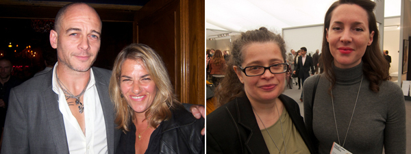 Left: Artists Dinos Chapman and Tracey Emin. Right: Frieze cofounder Amanda Sharp with Frieze Masters director Victoria Siddall. (All photos: Linda Yablonsky)