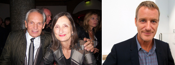 Left: Art Basel film curator Matthias Bruner and curator Bice Curiger. Right: Dealer Lorcan O'Neill.