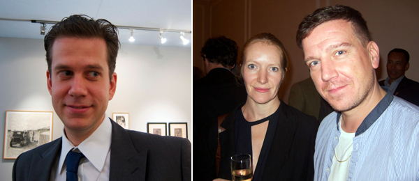 Left: Dealer Leo Koenig. Right: Writer Kirsty Bell and Artists Space director Stefan Kalmár.