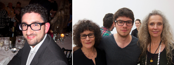 Left: Tate Modern curator Mark Godfrey. Right: Writer Lynne Tillman with Lion Summerbell and artist Kiki Smith.