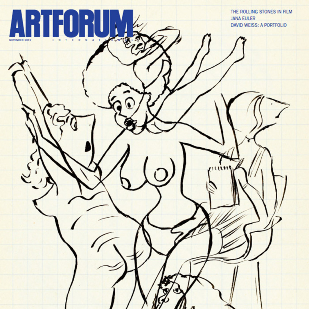 "Cover: David Weiss, untitled (detail), 1977, ink on paper, 6 7/8 x 4 3/8"". From the sketchbook ""Frauen"" (Women), 1977."