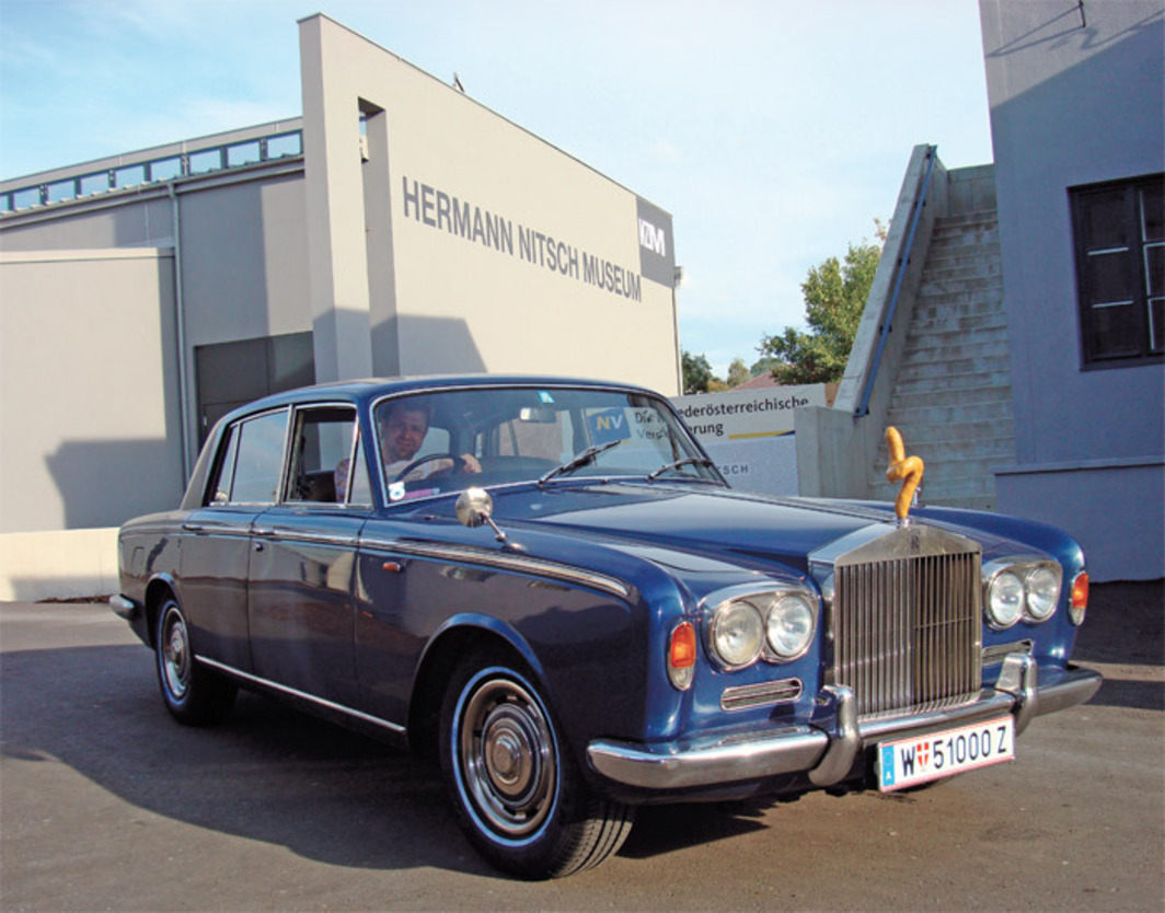 Franz West's Rolls-Royce with custom hood ornament, outside the Hermann Nitsch Museum, Mistelbach, Austria, 2007. Photo: Alison Gingeras.