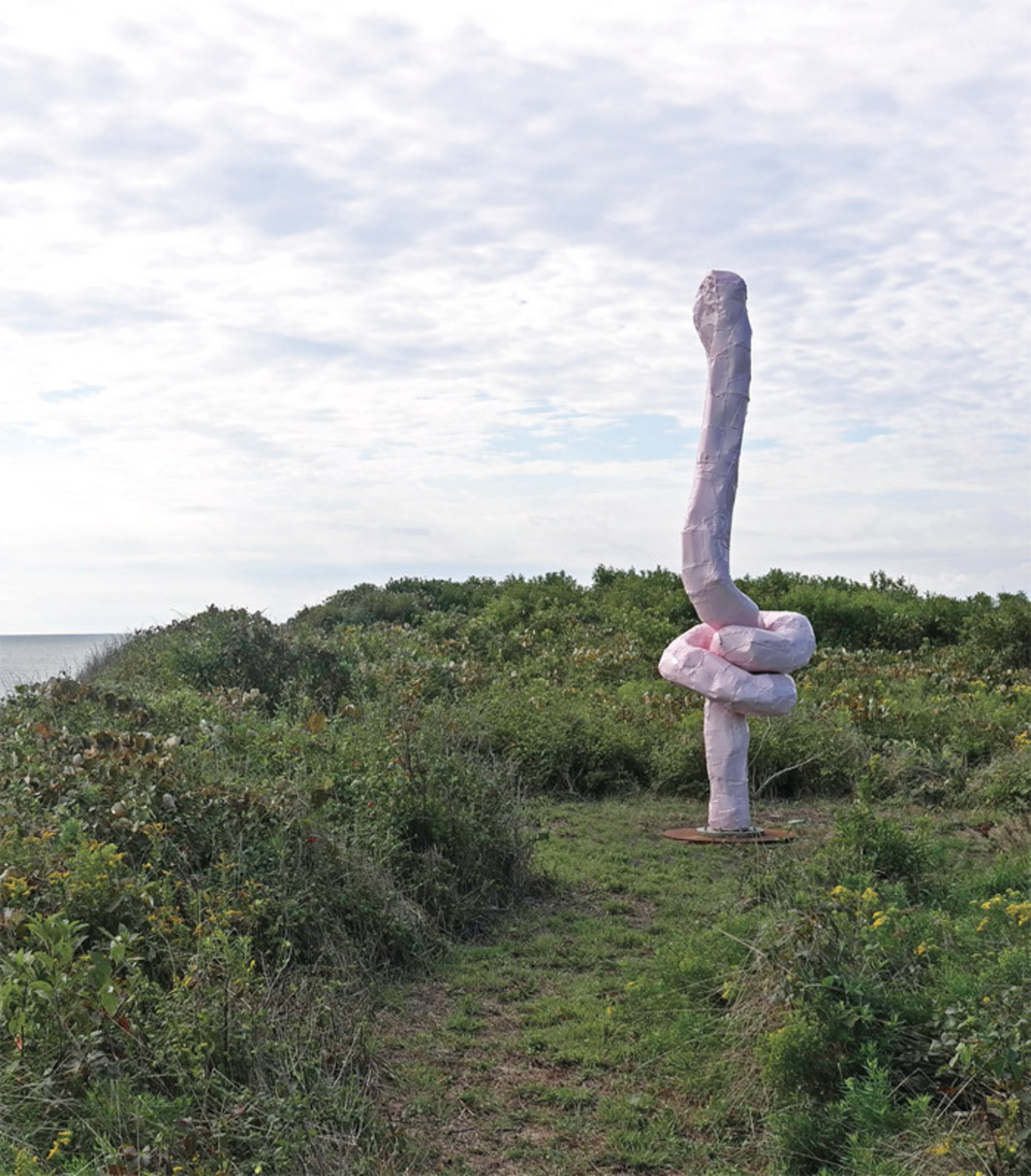 Franz West, Eidolon, 2009, painted aluminum. Installation view, Montauk, New York, 2012. Photo: Adam Lindemann.
