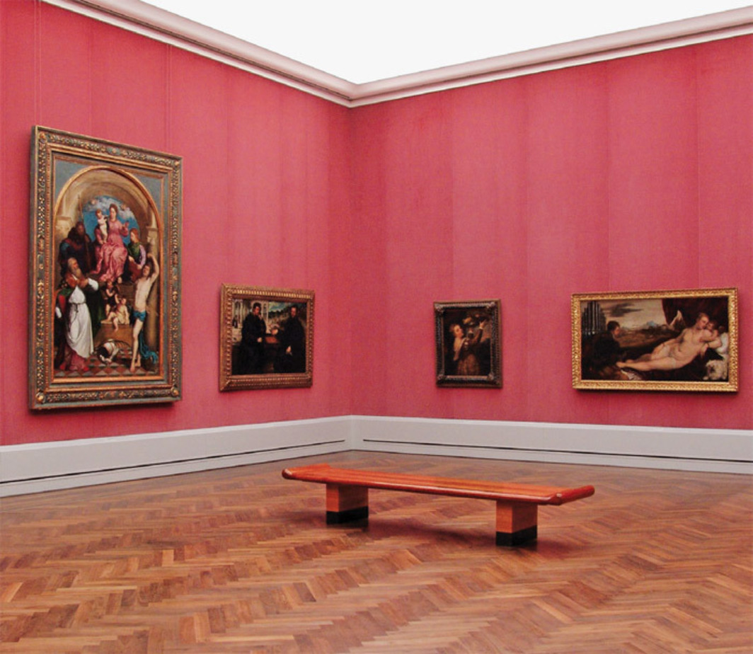 The Titian Room, Gemäldegalerie, Berlin, 2007. From left: Paris Bordone, Virgin Enthroned with the Child and the Saints, 1535; Paris Bordone, Two Chess Players, ca. 1540; Titian, Girl with a Platter of Fruit, ca. 1555; Titian, Venus with the Organ Player, ca. 1551. Photo: Christoph Schmidt.