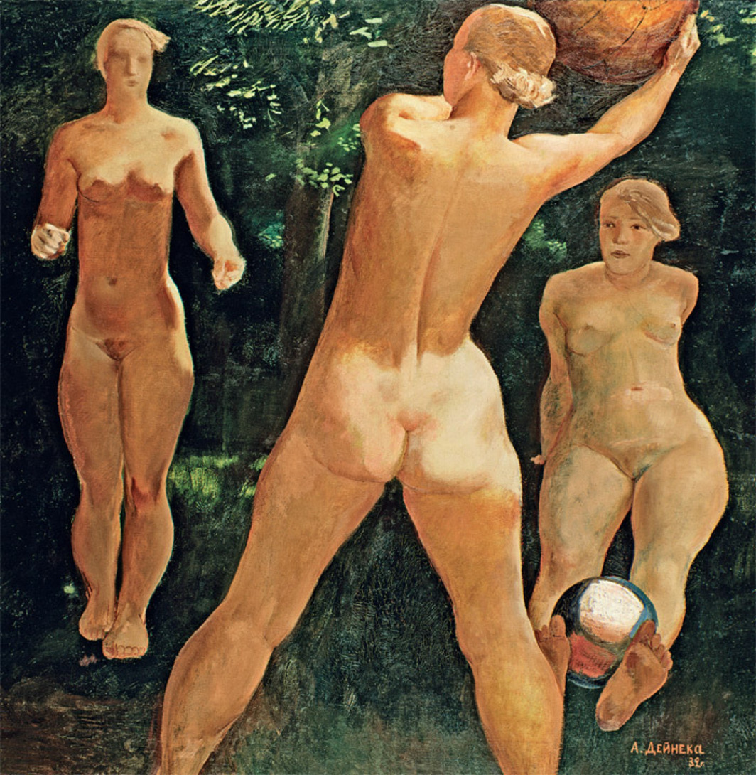 Aleksandr Deineka, The Ball Game, 1932, oil on canvas, 49 x 49""