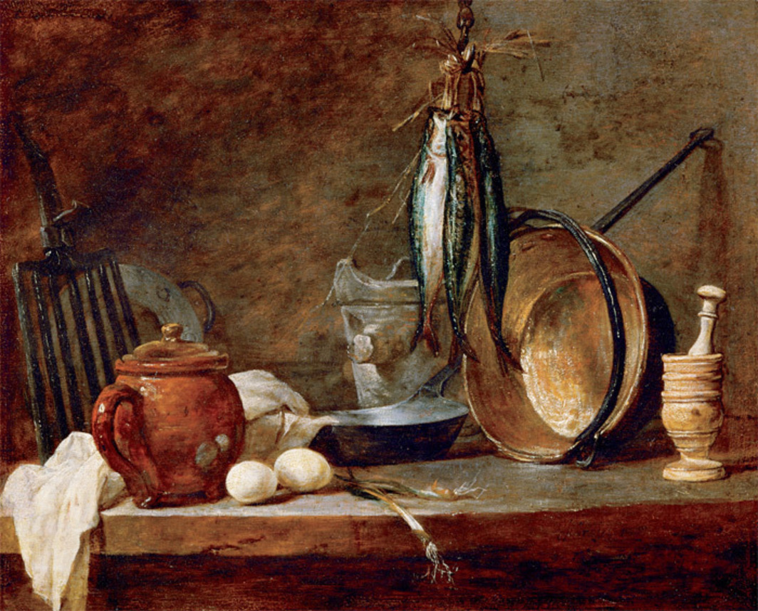 "Jean-Baptiste-Siméon Chardin, Le Menu de maigre (The Fast-Day Menu), 1731, oil on copper, 13 x 16 1/8""."