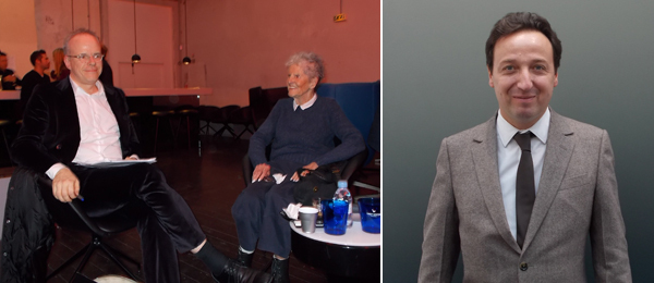 Left: Curator Hans Ulrich Obrist and artist Sturtevant. Right: Dealer Emmanuel Perrotin.