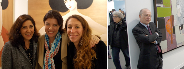 Left: The Third Line's Sunny Rahbar, Art Dubai director Antonia Carver, and The Third Line's Claudia Cellini at FIAC. Right: Dealer Daniel Templon.