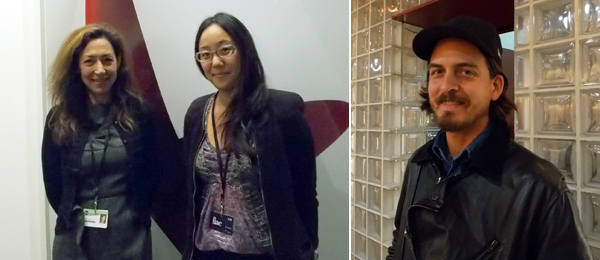 Left: Dealers Shaun Caley Regen and Jennifer Loh. Right: Artist Oscar Tuazon.