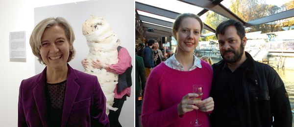 Left: Dealer Raffaella Cortese at FIAC. Right: Laura Mitterand and dealer Javier Peres.