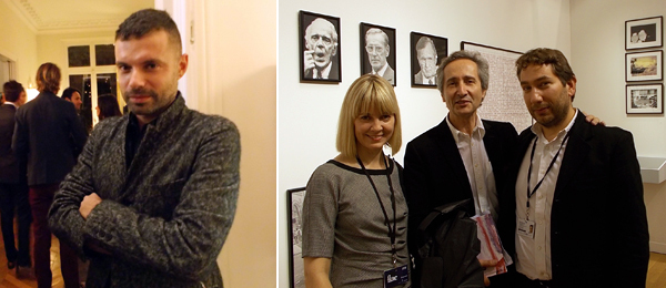 Left: Dealer Daniele Balice. Right: Dealer Elizabeth Dee, Centre Pompidou's Bernard Blistene, and dealer Jocelyn Wolff at FIAC.