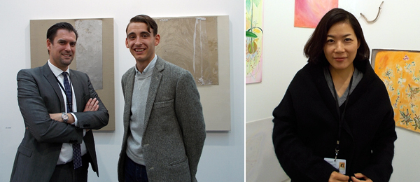 Left: Almine Rech's Carlos Cardenas with artist Erik Lindman  Right: Dealer Atsuko Ninagawa.