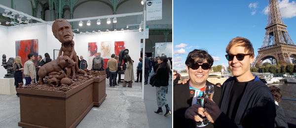 Left: The Hauser & Wirth stand at FIAC. Right: Artists Ken Okiishi and Nick Mauss.