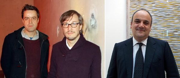 Left: Artists Michael Quistrebert and Markus Schinwald. Right: Dealer Alfonso Artiaco.