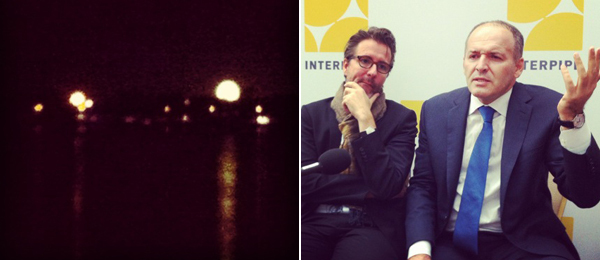 Left: Dnepropetrovsk sunrise. Right: Artist Olafur Eliasson and collector Victor Pinchuk. (All photos: Brian Droitcour)