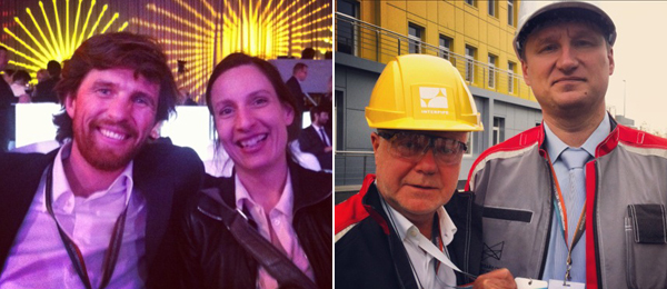 Left: Pinchuk Art Center artistic manager Björn Geldof and Olafur Eliasson studio manager Caroline Egel. Right: Pinchuk Art Centre director Eckhard Schneider and Interpipe Steel Mill deputy director Vladimir Yerak.