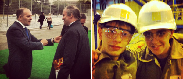 Left: Victor Pinchuk with conductor Valery Gergiev. Right: Workers at the Interpipe Steel Mill.