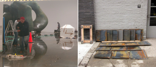 Left: Sweeping the water out of Gagosian Gallery, West Twenty-First Street, where a Henry Moore sculpture show was partially installed before Sandy. Right: Soaked and oxidizing Carl Andre plates drying on the sidewalk in front of Paula Cooper Gallery. (All photos: Linda Yablonsky)