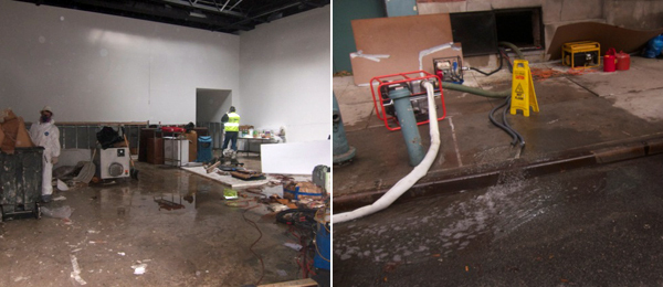 Left: 303 Gallery. Right: Water pumps and generators.