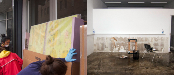 Left: Workers check the condition of every artwork in Jack Shainman gallery. Right: Casey Kaplan Gallery.
