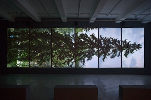 Eija-Liisa Ahtila, Horizontal, 2011, 6-channel digital projection with 5.1-channel audio, six minutes, 10 x 34 1/2'.