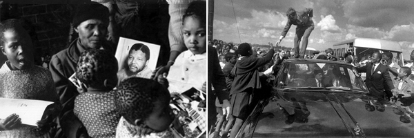 Left: Nelson Mandela's mother, Nosekeni, with grandchildren holding a picture of her son, 1962. Right: Robert Kennedy outside the Regina Mundi Catholic Church in Soweto, 1966. (Photos: Alfred Kumalo)
