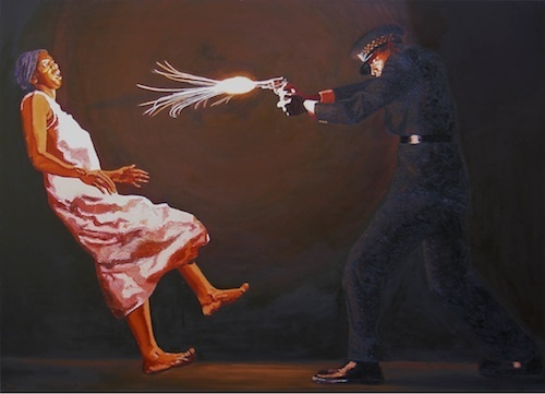 "Kimathi Donkor, Under Fire, 2005, oil on linen, 47 1/2 x 71 1/2""."