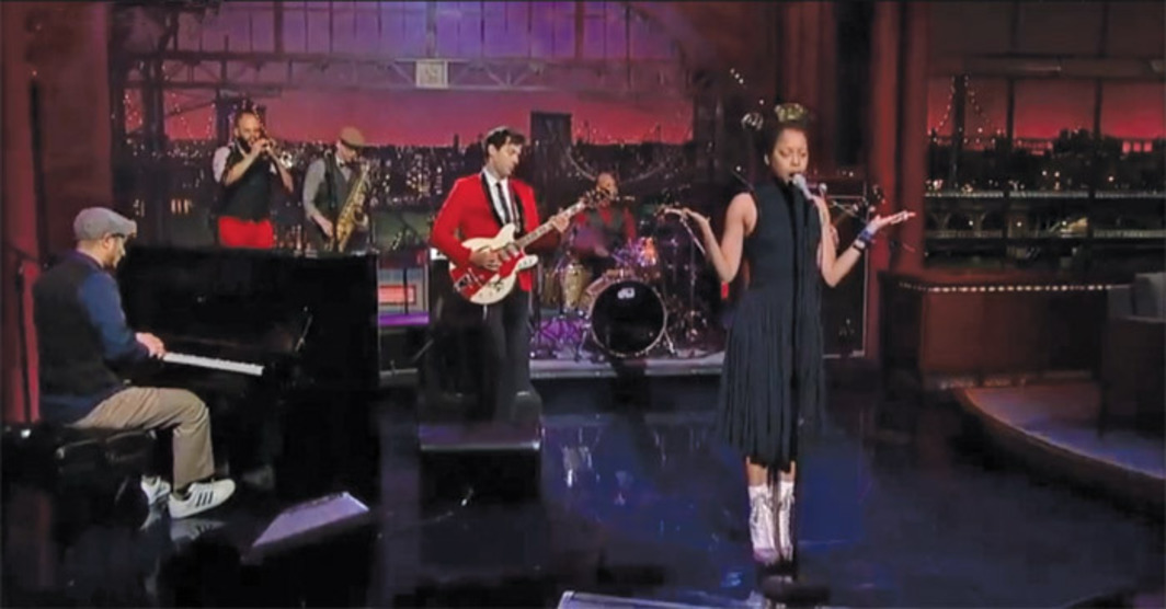 Erykah Badu performing on Late Show with David Letterman with Mark Ronson, the Dap-Kings, and Zigaboo Modeliste, New York, February 14, 2012.