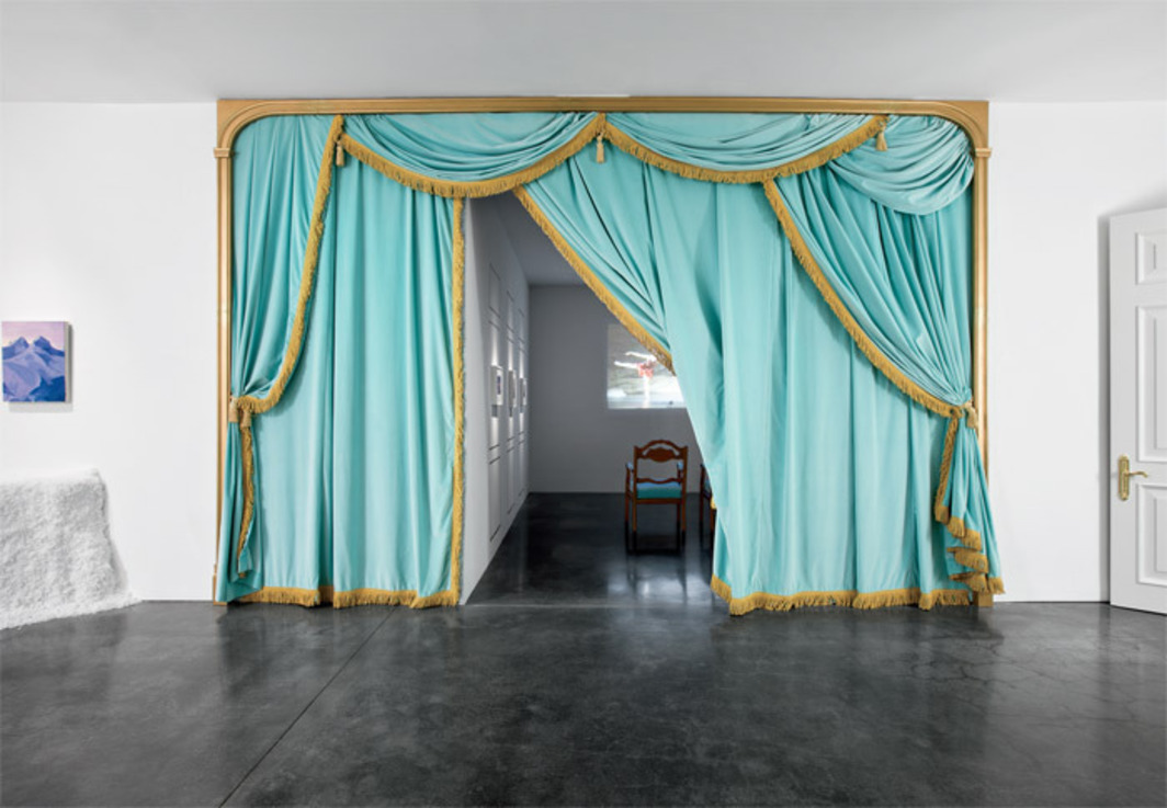 Karen Kilimnik, Curtains and Chairs (from Mariinsky Theatre), 2007, mixed media. Installation view. Photo: Farzad Owrang.