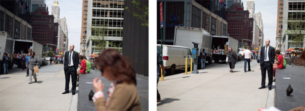 "Paul Graham, 53rd Street & 6th Avenue, 6th May 2011, 2.41.26 pm, diptych, pigment prints mounted on Dibond, each 56 x 74""."