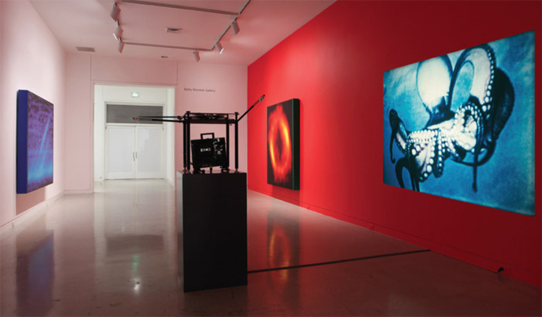 "View of ""Jack Goldstein x 10,000,"" 2012. From left: Untitled, 1989; Untitled, 1988; and Underwater Sea Fantasy, 1983/2003. Photo: Chris Bliss."