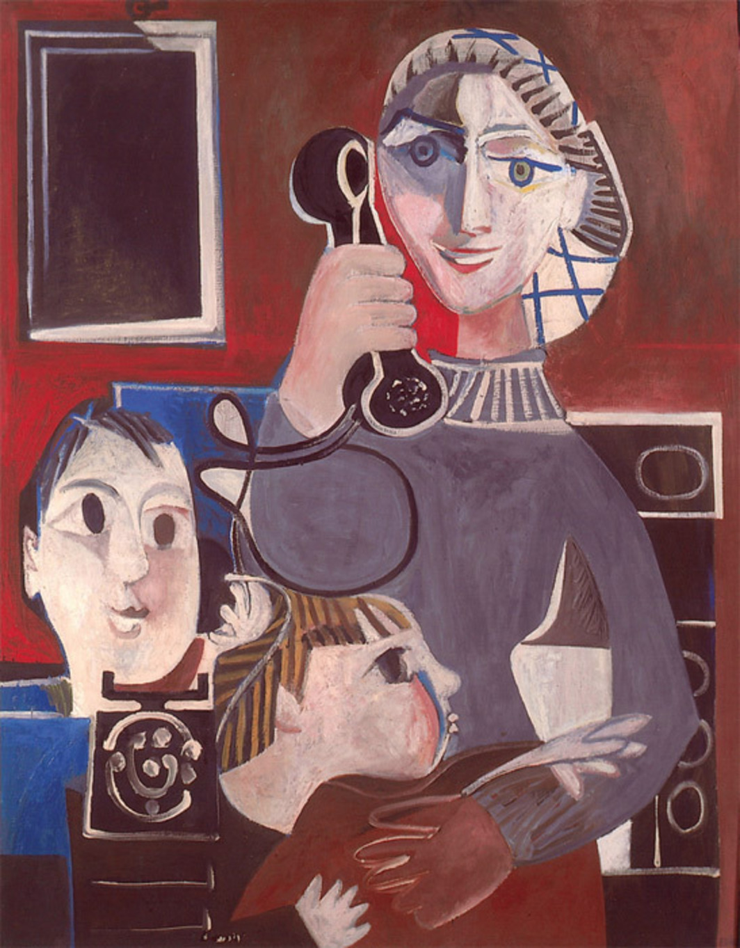 "Françoise Gilot, The Telephone Call, 1952, oil on canvas, 39 3/8 x 31 7/8""."