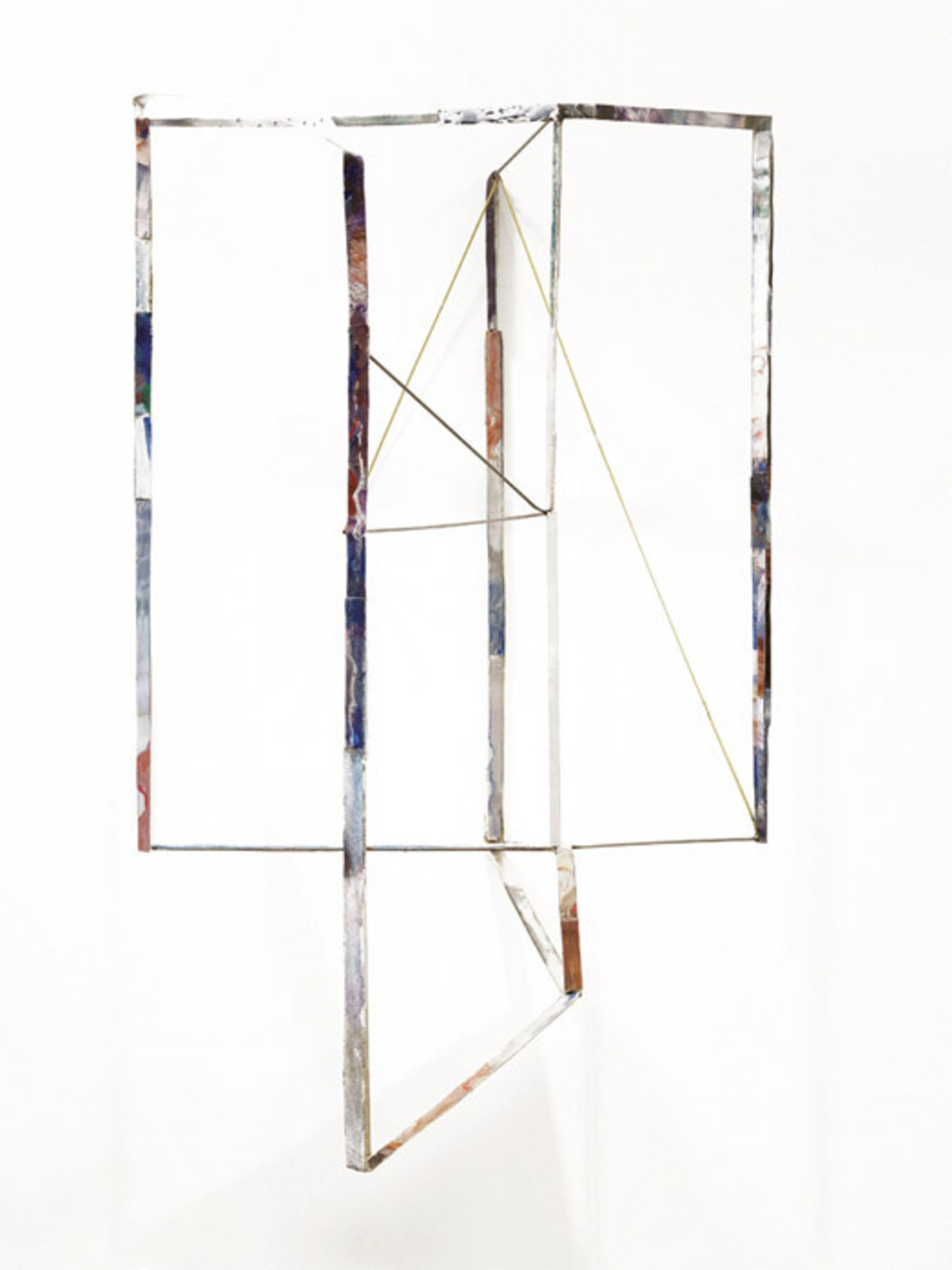 "Sara Barker, Draft overlapped, 2012, oil paint, canvas, steel, brass, aluminum, metal filler, glass, 40 1/8 x 24 3/8 x 18 1/8""."