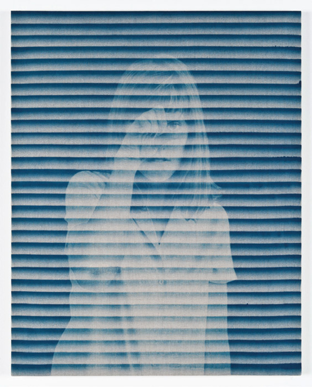 "John Opera, Woman in Window, 2012, cyanotype on stretched linen, 24 x 20""."